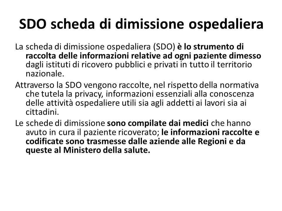 SDO scheda di dimissione ospedaliera La scheda di dimissione ospedaliera (SDO) è lo strumento di raccolta delle informazioni relative ad ogni paziente