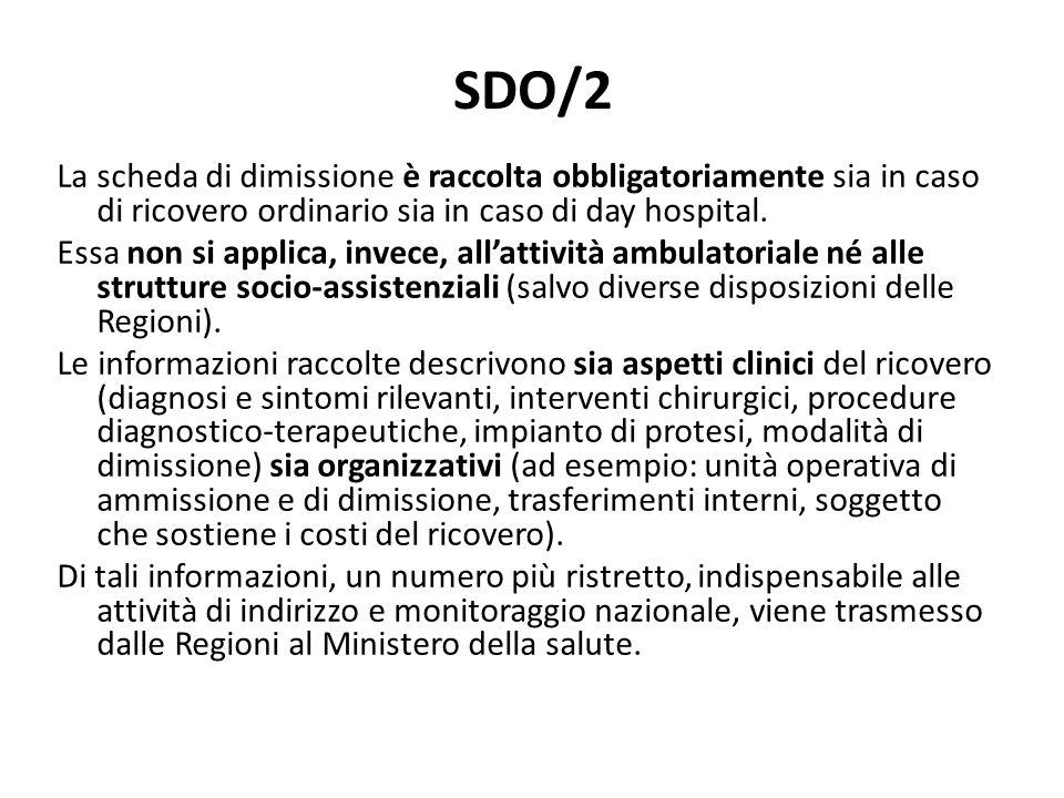 SDO/2 La scheda di dimissione è raccolta obbligatoriamente sia in caso di ricovero ordinario sia in caso di day hospital. Essa non si applica, invece,