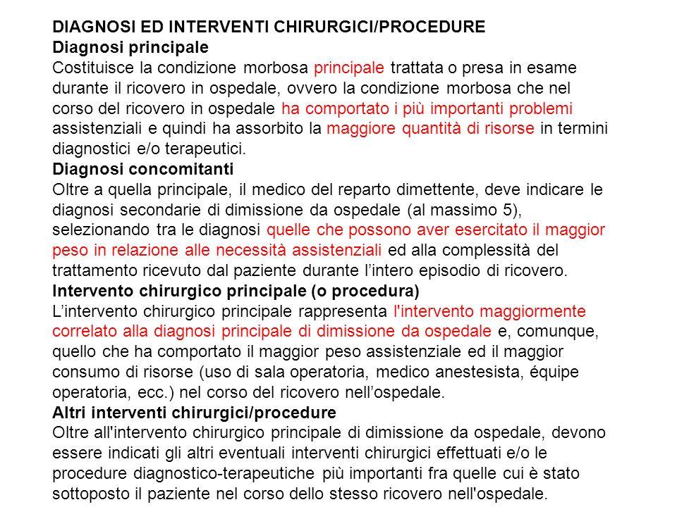DIAGNOSI ED INTERVENTI CHIRURGICI/PROCEDURE Diagnosi principale Costituisce la condizione morbosa principale trattata o presa in esame durante il rico