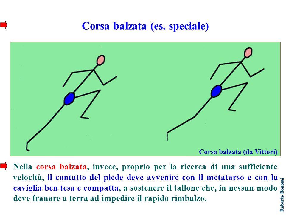 Corsa balzata (es. speciale) Nella corsa balzata, invece, proprio per la ricerca di una sufficiente velocità, il contatto del piede deve avvenire con