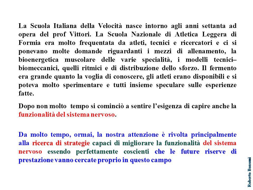 La Scuola Italiana della Velocità nasce intorno agli anni settanta ad opera del prof Vittori. La Scuola Nazionale di Atletica Leggera di Formia era mo