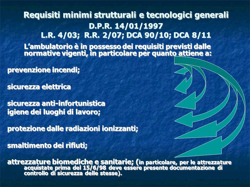 Requisiti minimi strutturali e tecnologici generali D.P.R. 14/01/1997 L.R. 4/03; R.R. 2/07; DCA 90/10; DCA 8/11 Lambulatorio è in possesso dei requisi