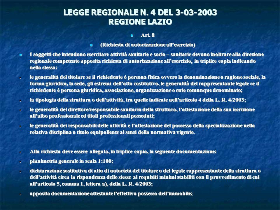 LEGGE REGIONALE N. 4 DEL 3-03-2003 REGIONE LAZIO Art. 8 Art. 8 (Richiesta di autorizzazione allesercizio) (Richiesta di autorizzazione allesercizio) I