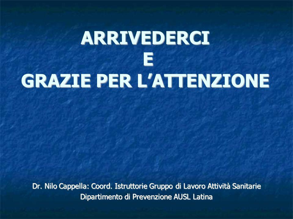 ARRIVEDERCI E GRAZIE PER LATTENZIONE Dr. Nilo Cappella: Coord. Istruttorie Gruppo di Lavoro Attività Sanitarie Dipartimento di Prevenzione AUSL Latina