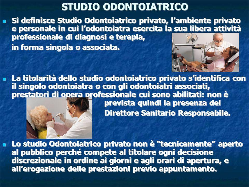 STUDIO ODONTOIATRICO Si definisce Studio Odontoiatrico privato, lambiente privato e personale in cui lodontoiatra esercita la sua libera attività prof