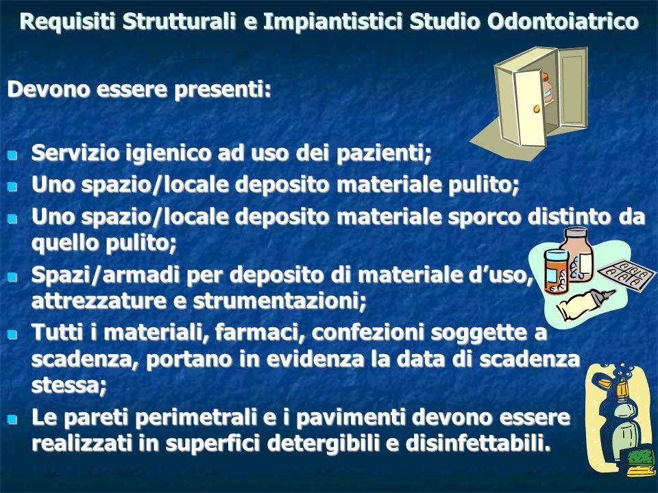 Requisiti Strutturali e Impiantistici Studio Odontoiatrico Devono essere presenti: Servizio igienico ad uso dei pazienti; Servizio igienico ad uso dei