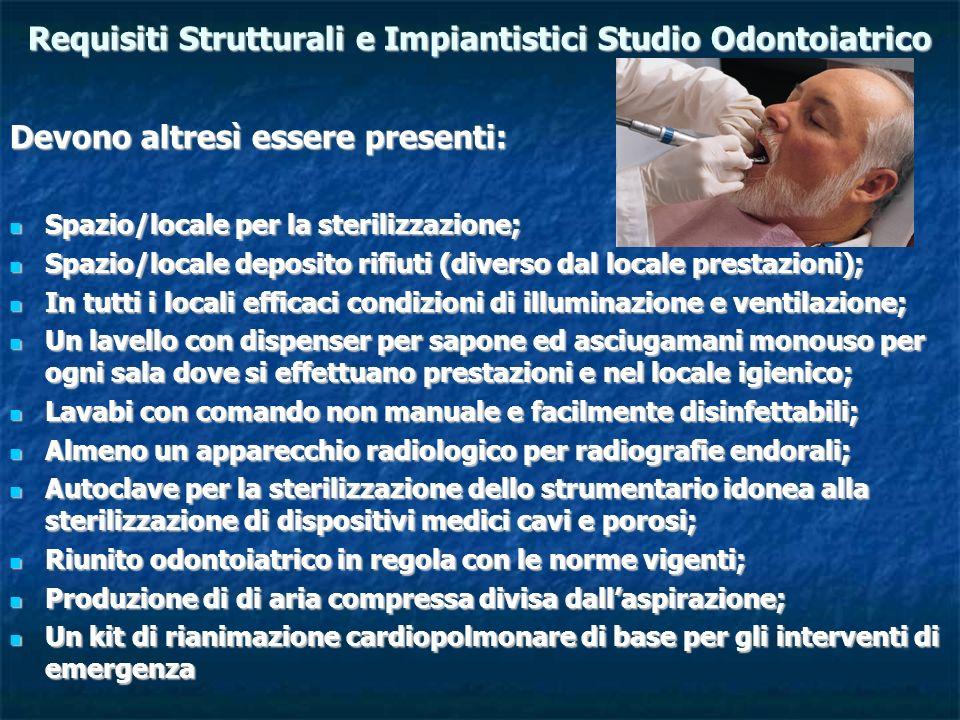 Requisiti Strutturali e Impiantistici Studio Odontoiatrico Devono altresì essere presenti: Spazio/locale per la sterilizzazione; Spazio/locale per la