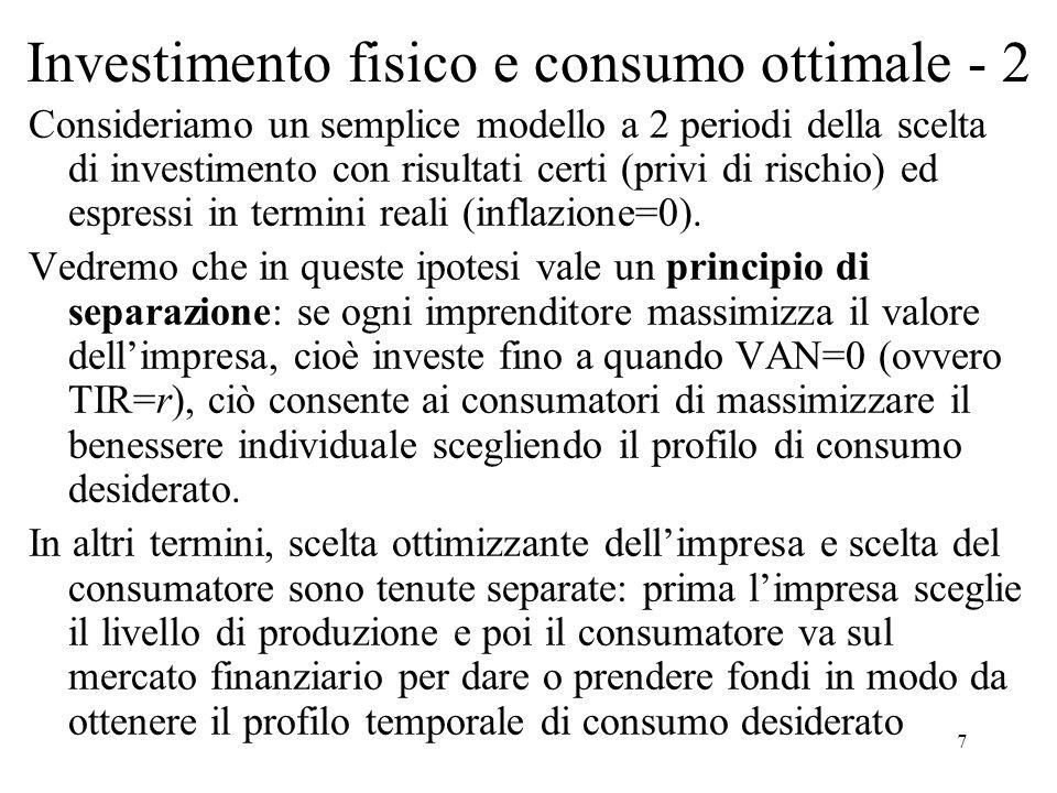 7 Investimento fisico e consumo ottimale - 2 Consideriamo un semplice modello a 2 periodi della scelta di investimento con risultati certi (privi di r