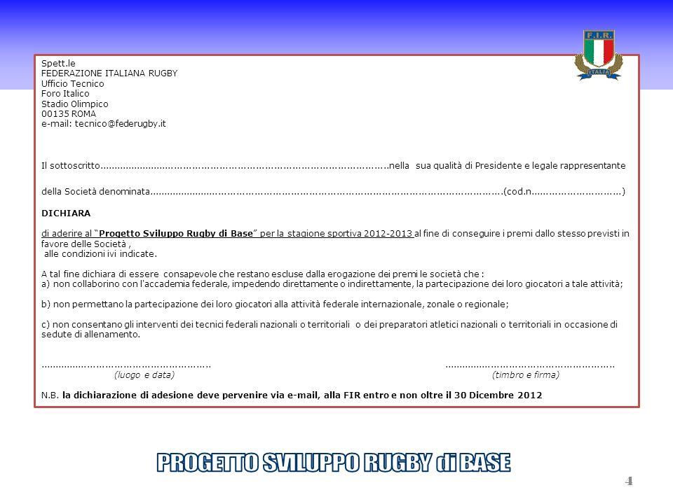 Spett.le FEDERAZIONE ITALIANA RUGBY Ufficio Tecnico Foro Italico Stadio Olimpico 00135 ROMA e-mail: tecnico@federugby.it Il sottoscritto..............
