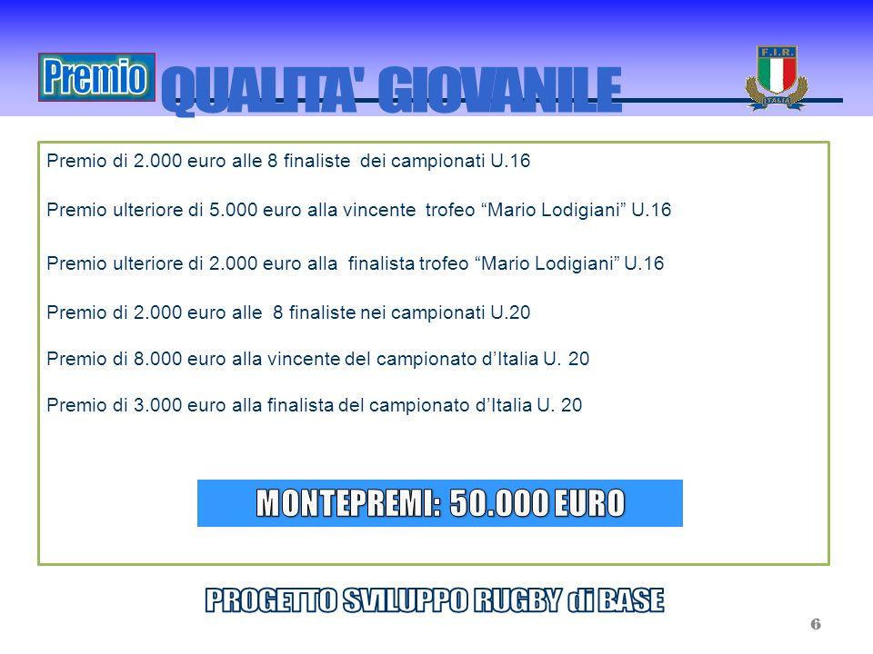 Premio di 2.000 euro alle 8 finaliste dei campionati U.16 Premio ulteriore di 5.000 euro alla vincente trofeo Mario Lodigiani U.16 Premio ulteriore di