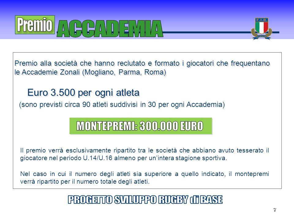 Premio alla società che hanno reclutato e formato i giocatori che frequentano le Accademie Zonali (Mogliano, Parma, Roma) Il premio verrà esclusivamen