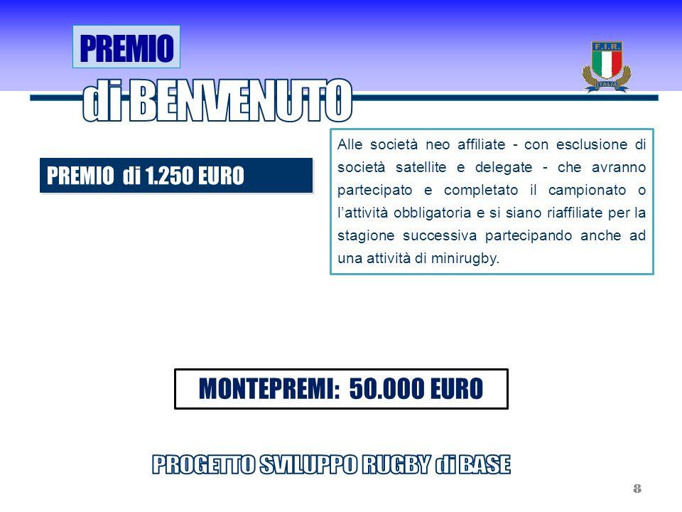 PREMIO di 1.250 EURO Alle società neo affiliate - con esclusione di società satellite e delegate - che avranno partecipato e completato il campionato