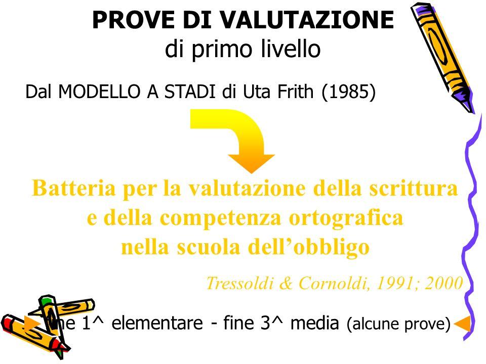 PROVE DI VALUTAZIONE di primo livello Dal MODELLO A STADI di Uta Frith (1985) Batteria per la valutazione della scrittura e della competenza ortografi