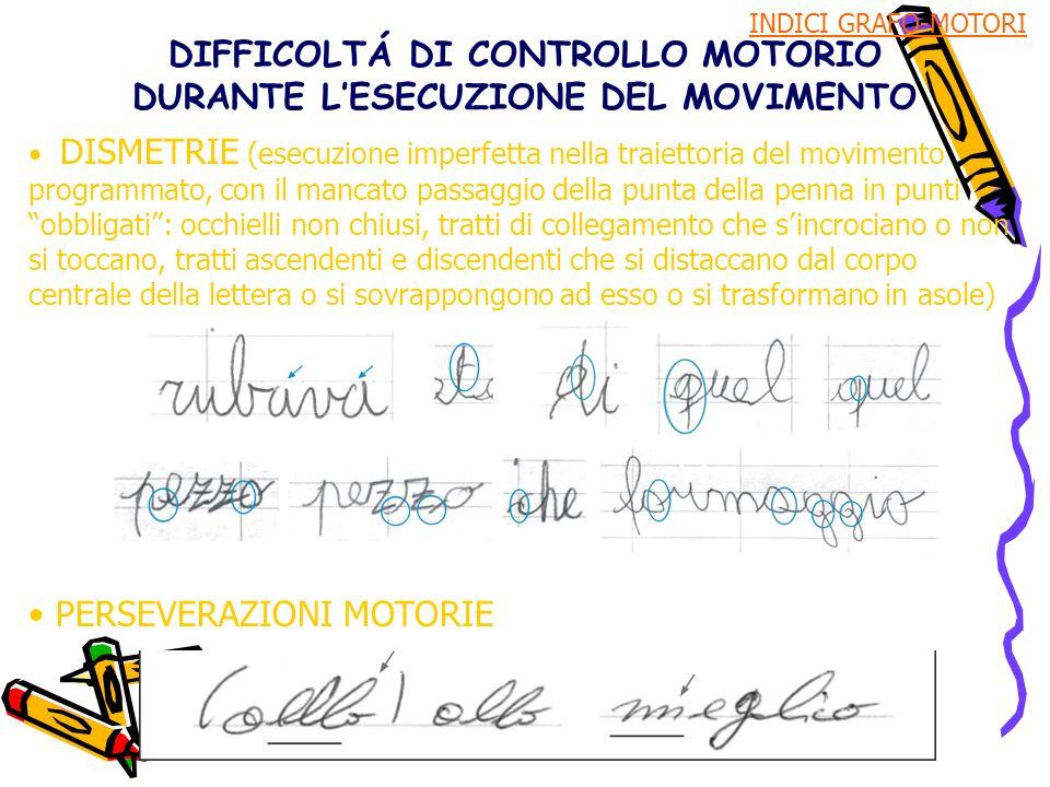 DIFFICOLTÁ DI CONTROLLO MOTORIO DURANTE LESECUZIONE DEL MOVIMENTO DISMETRIE (esecuzione imperfetta nella traiettoria del movimento programmato, con il