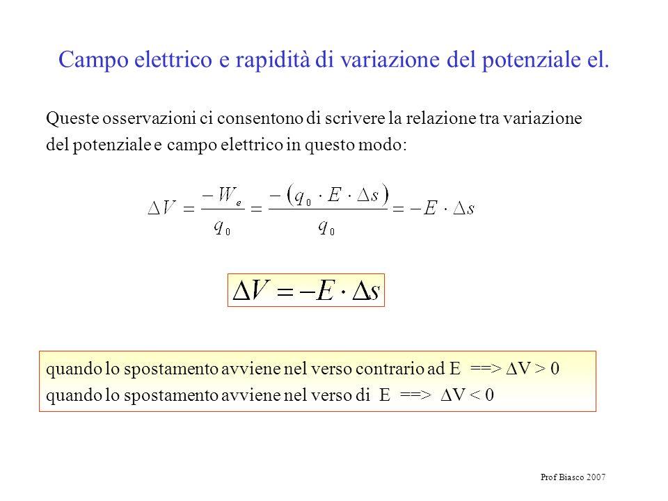 Prof Biasco 2007 Queste osservazioni ci consentono di scrivere la relazione tra variazione del potenziale e campo elettrico in questo modo: quando lo