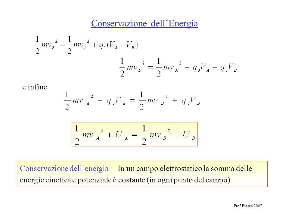 Prof Biasco 2007 Conservazione dellEnergia Conservazione dellenergia In un campo elettrostatico la somma delle energie cinetica e potenziale è costant