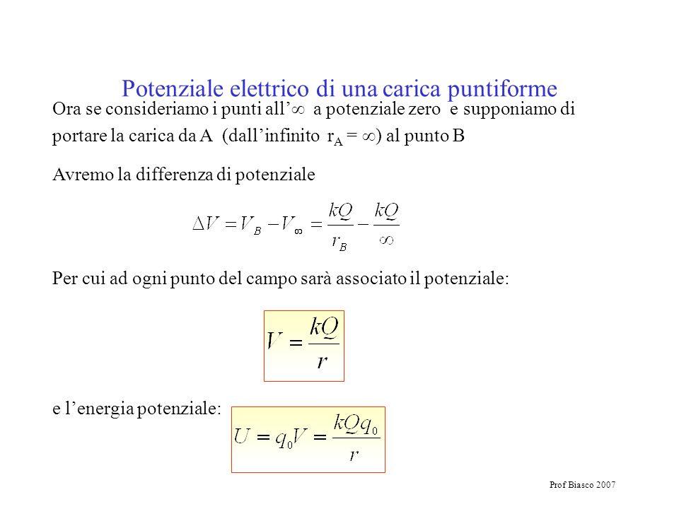 Prof Biasco 2007 Ora se consideriamo i punti all a potenziale zero e supponiamo di portare la carica da A (dallinfinito r A = ) al punto B Avremo la d