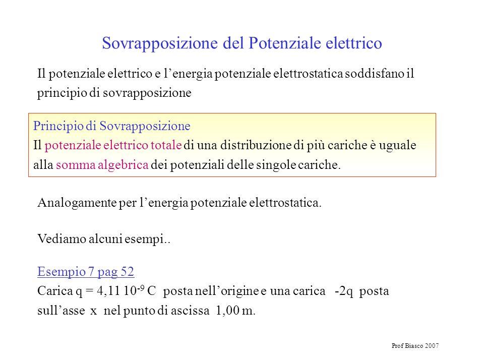 Prof Biasco 2007 Il potenziale elettrico e lenergia potenziale elettrostatica soddisfano il principio di sovrapposizione Sovrapposizione del Potenzial