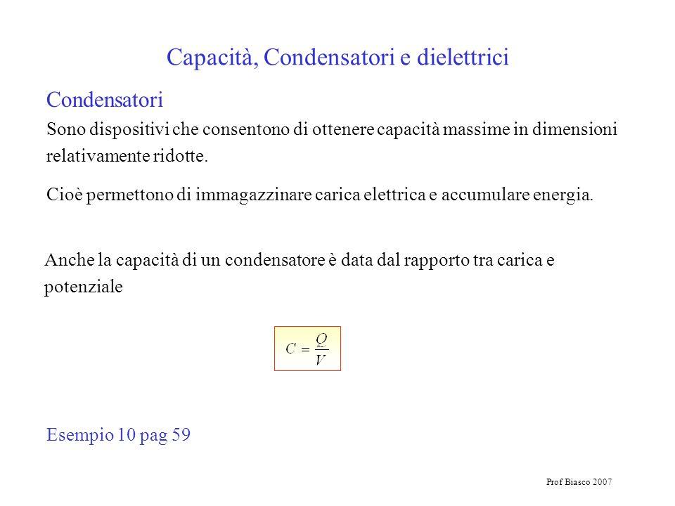 Prof Biasco 2007 Capacità, Condensatori e dielettrici Condensatori Sono dispositivi che consentono di ottenere capacità massime in dimensioni relativa