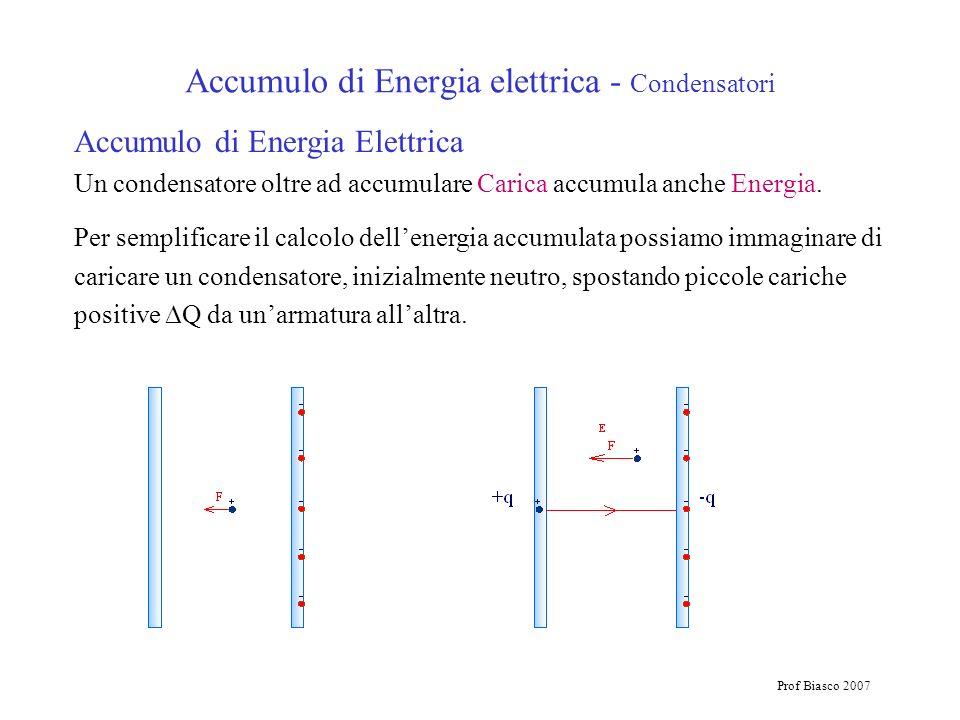 Prof Biasco 2007 Accumulo di Energia elettrica - Condensatori Accumulo di Energia Elettrica Un condensatore oltre ad accumulare Carica accumula anche
