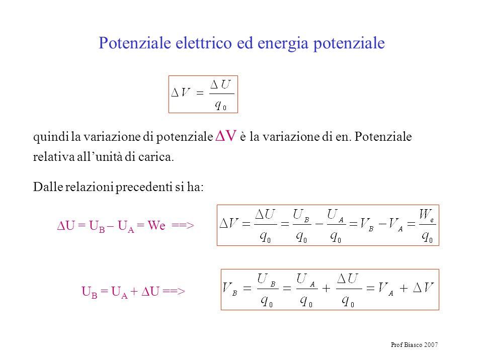 Prof Biasco 2007 Potenziale elettrico ed energia potenziale quindi la variazione di potenziale V è la variazione di en. Potenziale relativa allunità d