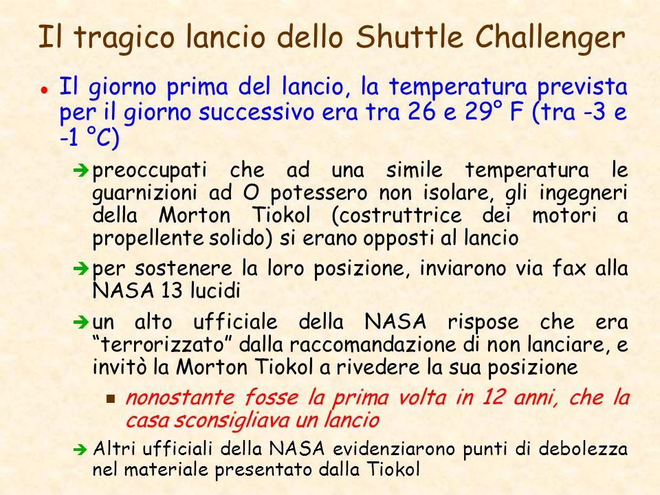 Il tragico lancio dello Shuttle Challenger l Il giorno prima del lancio, la temperatura prevista per il giorno successivo era tra 26 e 29° F (tra -3 e