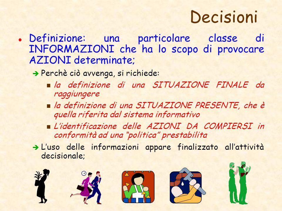 Decisioni l Definizione: una particolare classe di INFORMAZIONI che ha lo scopo di provocare AZIONI determinate; è Perchè ciò avvenga, si richiede: n