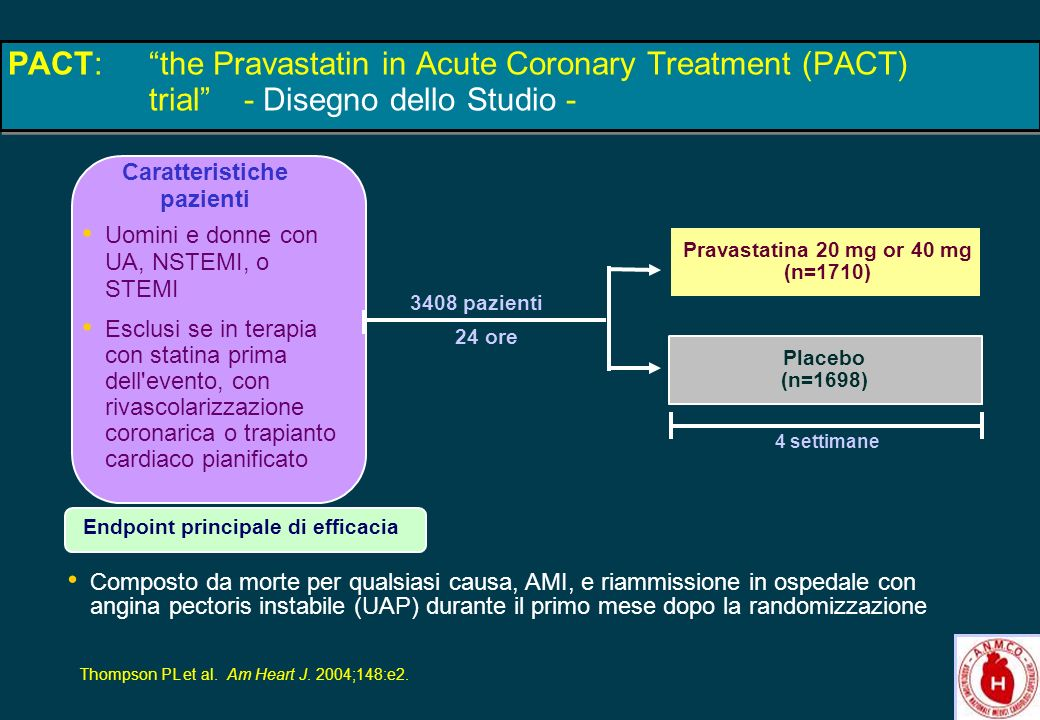 26 PACT:the Pravastatin in Acute Coronary Treatment (PACT) trial- Disegno dello Studio - 3408 pazienti 24 ore Uomini e donne con UA, NSTEMI, o STEMI E