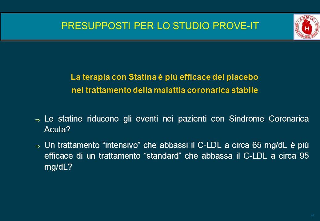34 PRESUPPOSTI PER LO STUDIO PROVE-IT La terapia con Statina è più efficace del placebo nel trattamento della malattia coronarica stabile Le statine r