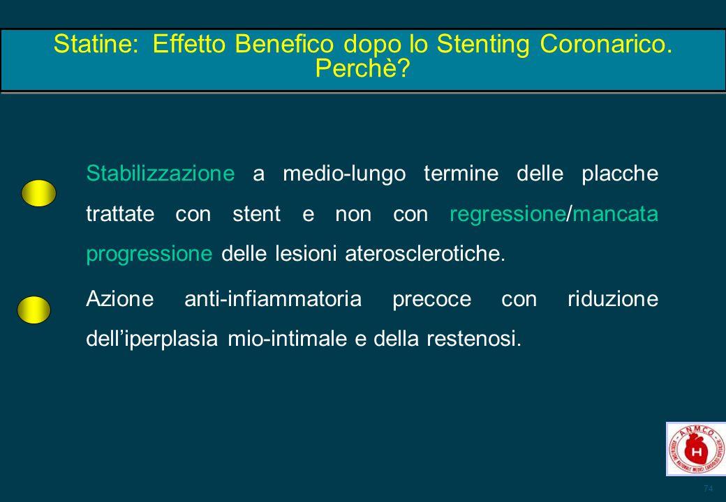 74 Statine:Effetto Benefico dopo lo Stenting Coronarico. Perchè? Stabilizzazione a medio-lungo termine delle placche trattate con stent e non con regr