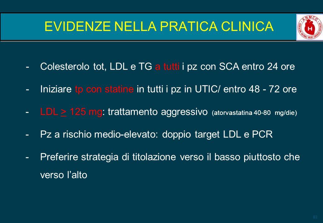 83 EVIDENZE NELLA PRATICA CLINICA -Colesterolo tot, LDL e TG a tutti i pz con SCA entro 24 ore -Iniziare tp con statine in tutti i pz in UTIC/ entro 4