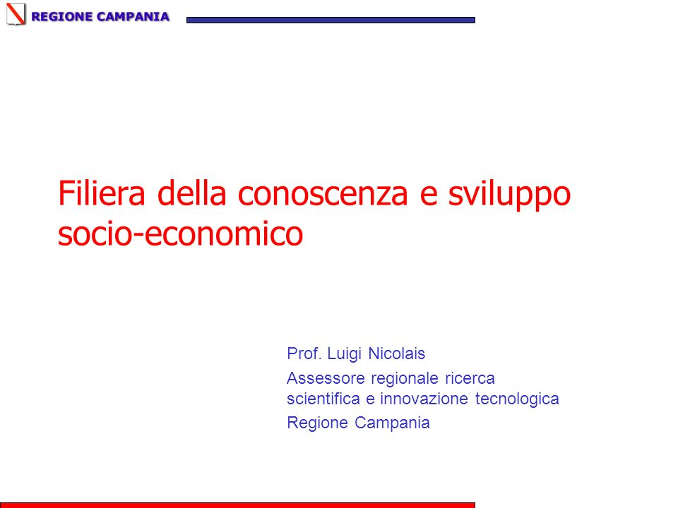Filiera della conoscenza e sviluppo socio-economico Prof. Luigi Nicolais Assessore regionale ricerca scientifica e innovazione tecnologica Regione Cam