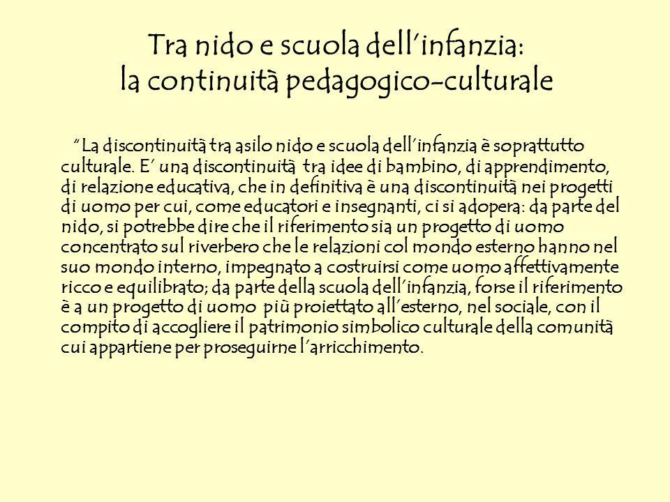 Tra nido e scuola dellinfanzia: la continuità pedagogico-culturale La discontinuità tra asilo nido e scuola dellinfanzia è soprattutto culturale. E un