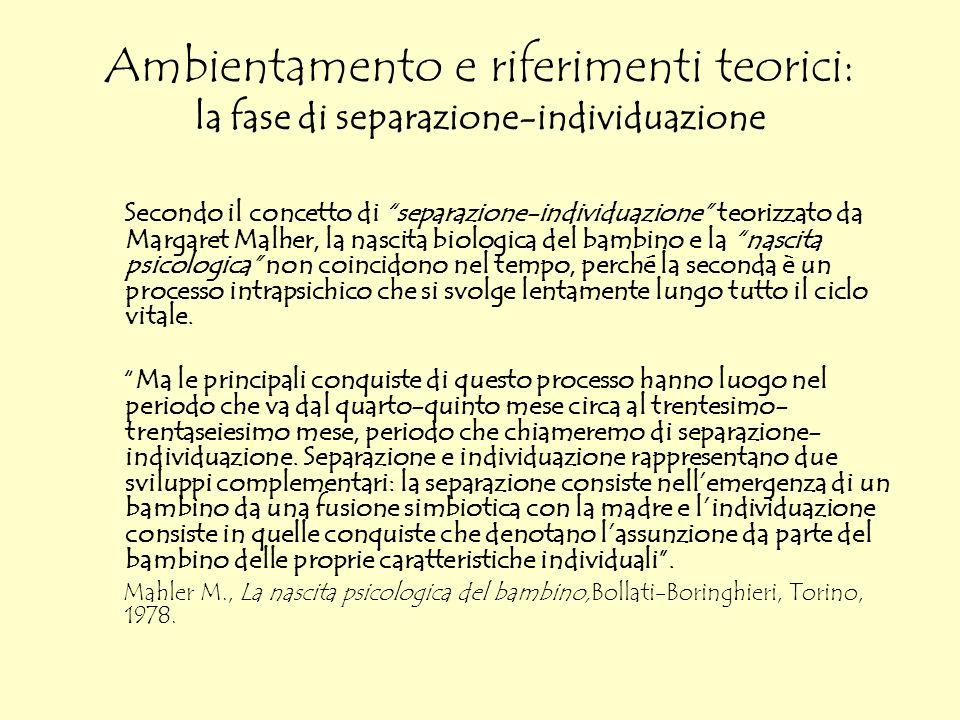 Ambientamento e riferimenti teorici: la fase di separazione-individuazione Secondo il concetto di separazione-individuazione teorizzato da Margaret Ma