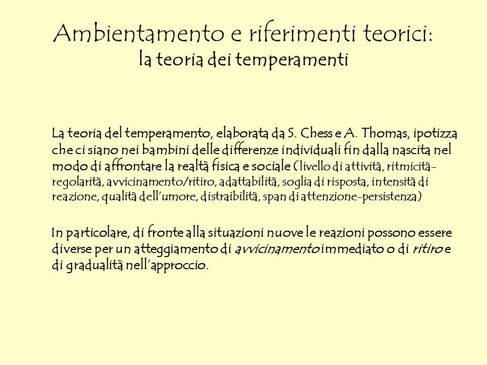 Ambientamento e riferimenti teorici: la teoria dei temperamenti La teoria del temperamento, elaborata da S. Chess e A. Thomas, ipotizza che ci siano n