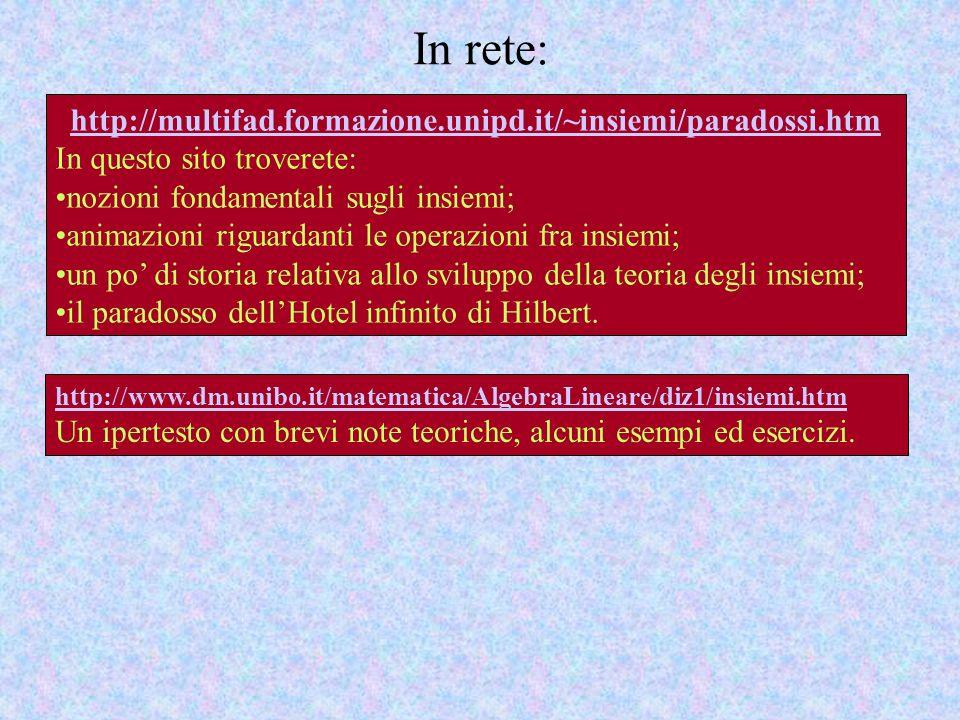 In rete: http://multifad.formazione.unipd.it/~insiemi/paradossi.htm In questo sito troverete: nozioni fondamentali sugli insiemi; animazioni riguardan