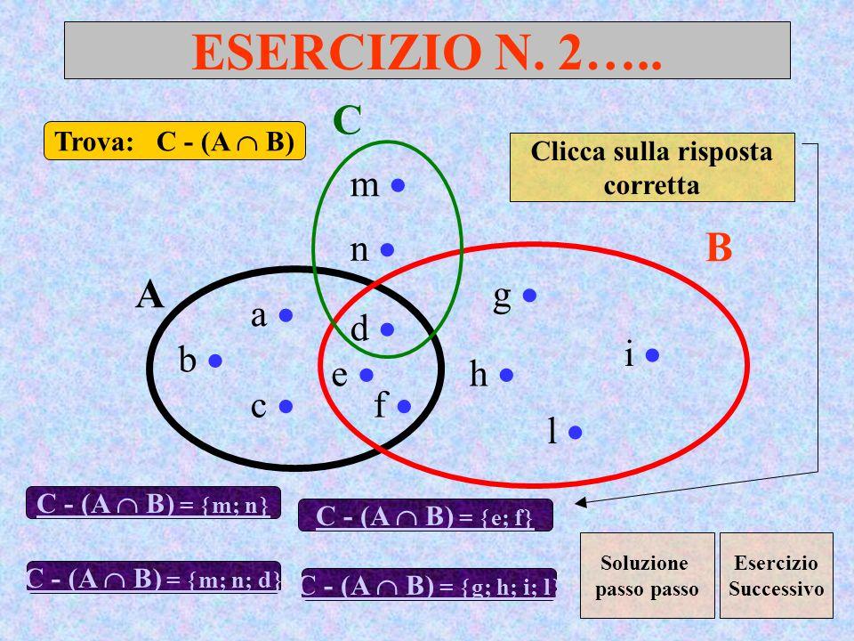 ESERCIZIO N. 2….. A B a d c b e f g h l i Trova: C - (A B) C - (A B) = m; n C m n C - (A B) = m; n; d Clicca sulla risposta corretta C - (A B) = e; f