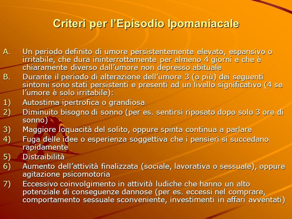 Criteri per lEpisodio Ipomaniacale A.Un periodo definito di umore persistentemente elevato, espansivo o irritabile, che dura ininterrottamente per alm