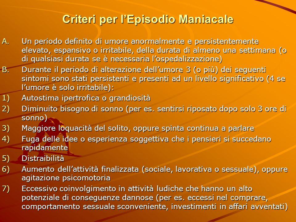 Criteri per lEpisodio Maniacale A.Un periodo definito di umore anormalmente e persistentemente elevato, espansivo o irritabile, della durata di almeno