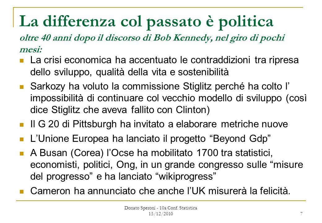 7 La differenza col passato è politica oltre 40 anni dopo il discorso di Bob Kennedy, nel giro di pochi mesi: La crisi economica ha accentuato le contraddizioni tra ripresa dello sviluppo, qualità della vita e sostenibilità Sarkozy ha voluto la commissione Stiglitz perché ha colto l impossibilità di continuare col vecchio modello di sviluppo (così dice Stiglitz che aveva fallito con Clinton) Il G 20 di Pittsburgh ha invitato a elaborare metriche nuove LUnione Europea ha lanciato il progetto Beyond Gdp A Busan (Corea) lOcse ha mobilitato 1700 tra statistici, economisti, politici, Ong, in un grande congresso sulle misure del progresso e ha lanciato wikiprogress Cameron ha annunciato che anche lUK misurerà la felicità.