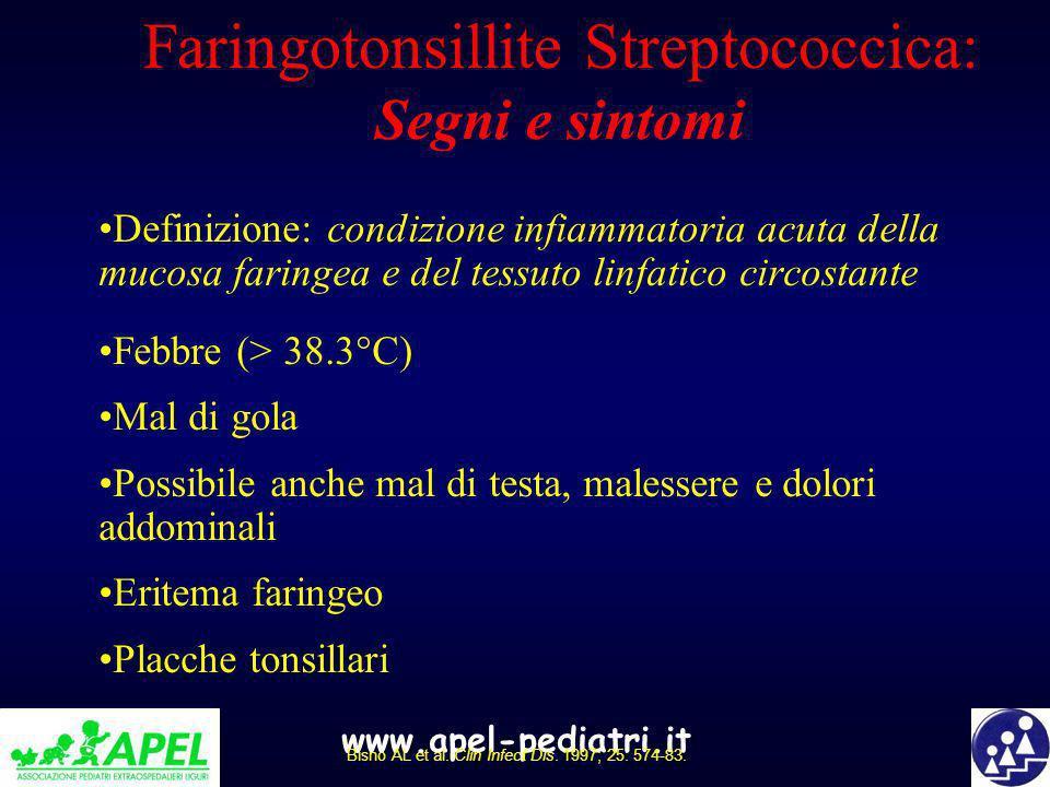 www.apel-pediatri.it Faringotonsillite Streptococcica: Segni e sintomi Definizione: condizione infiammatoria acuta della mucosa faringea e del tessuto