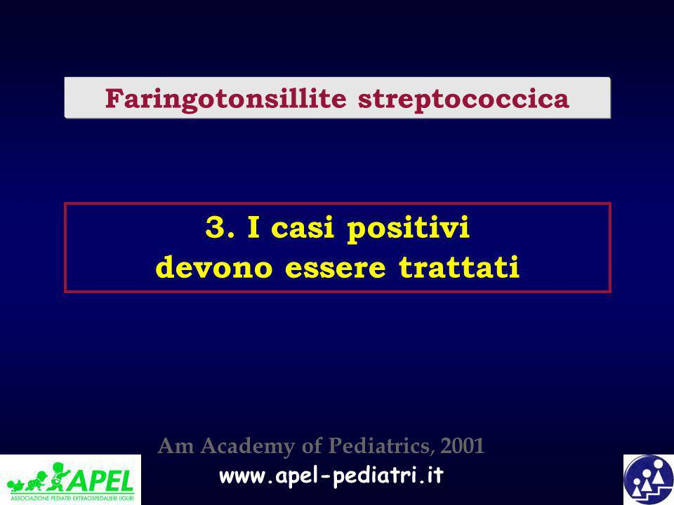 www.apel-pediatri.it 3. I casi positivi devono essere trattati Faringotonsillite streptococcica Am Academy of Pediatrics, 2001