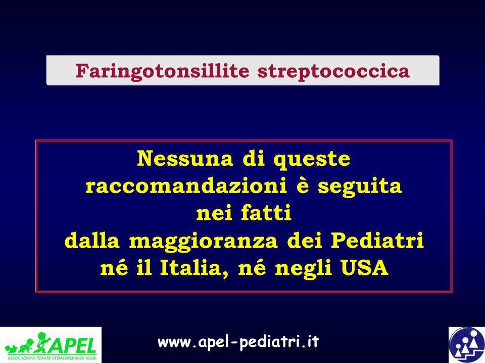 www.apel-pediatri.it Nessuna di queste raccomandazioni è seguita nei fatti dalla maggioranza dei Pediatri né il Italia, né negli USA Faringotonsillite