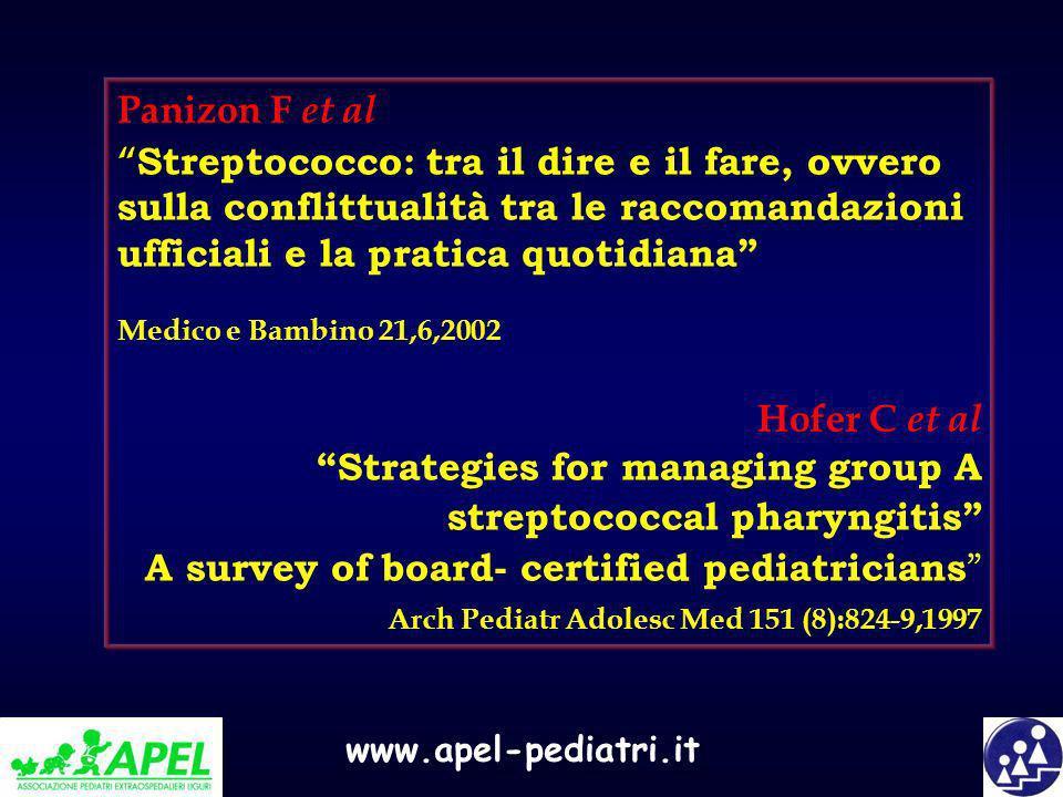 www.apel-pediatri.it Panizon F et al Streptococco: tra il dire e il fare, ovvero sulla conflittualità tra le raccomandazioni ufficiali e la pratica qu