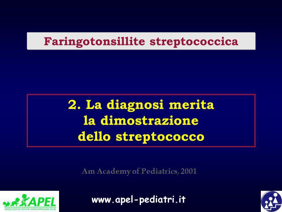 www.apel-pediatri.it 2. La diagnosi merita la dimostrazione dello streptococco Faringotonsillite streptococcica Am Academy of Pediatrics, 2001