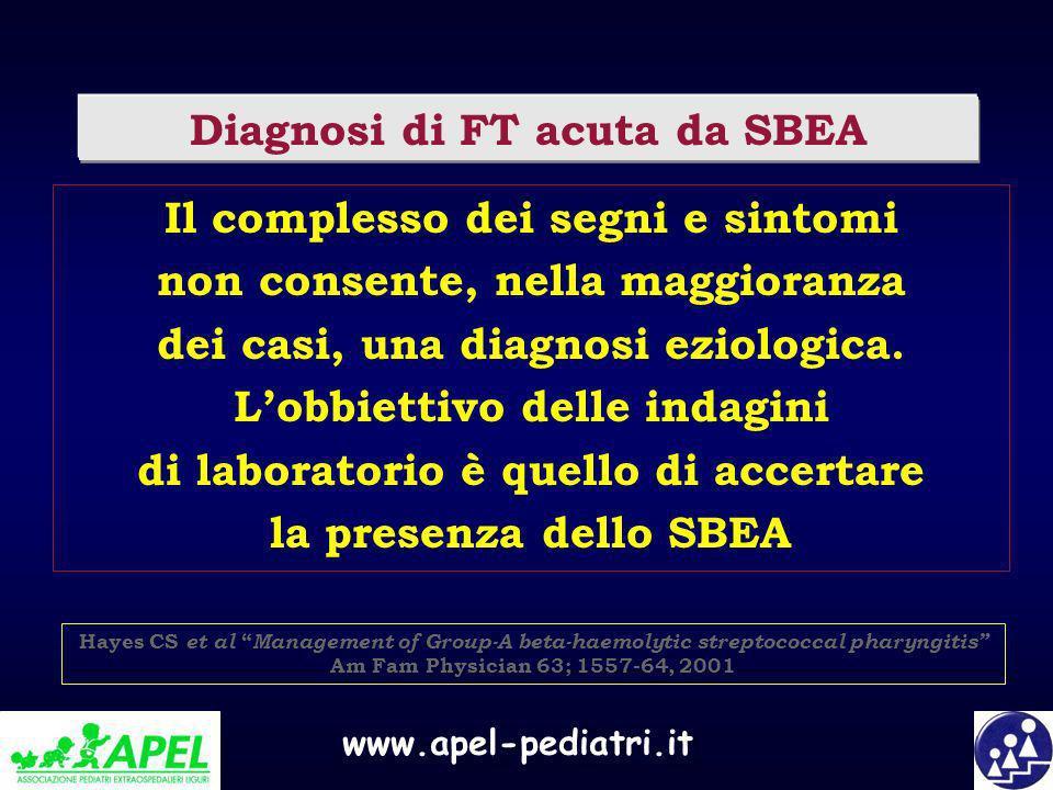 www.apel-pediatri.it Diagnosi di FT acuta da SBEA Il complesso dei segni e sintomi non consente, nella maggioranza dei casi, una diagnosi eziologica.