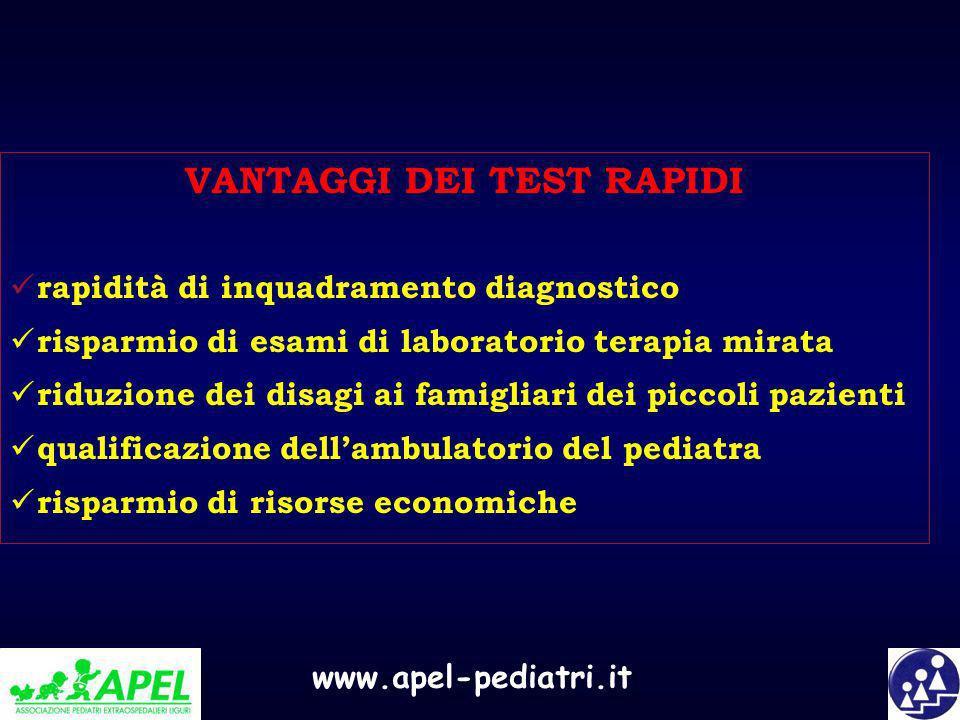 www.apel-pediatri.it VANTAGGI DEI TEST RAPIDI rapidità di inquadramento diagnostico risparmio di esami di laboratorio terapia mirata riduzione dei dis