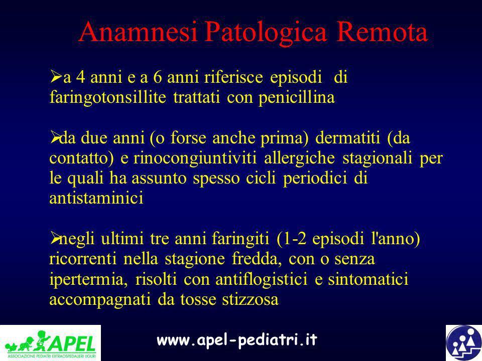 www.apel-pediatri.it Anamnesi Patologica Remota a 4 anni e a 6 anni riferisce episodi di faringotonsillite trattati con penicillina da due anni (o for