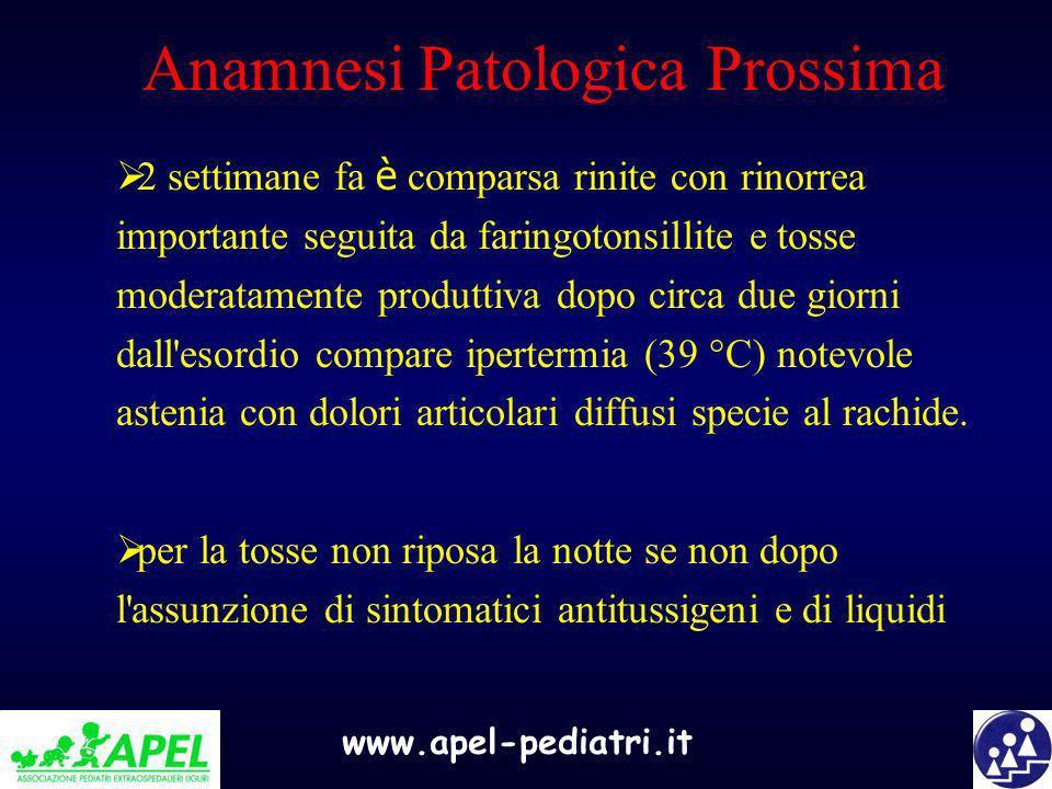 www.apel-pediatri.it Anamnesi Patologica Prossima 2 settimane fa è comparsa rinite con rinorrea importante seguita da faringotonsillite e tosse modera