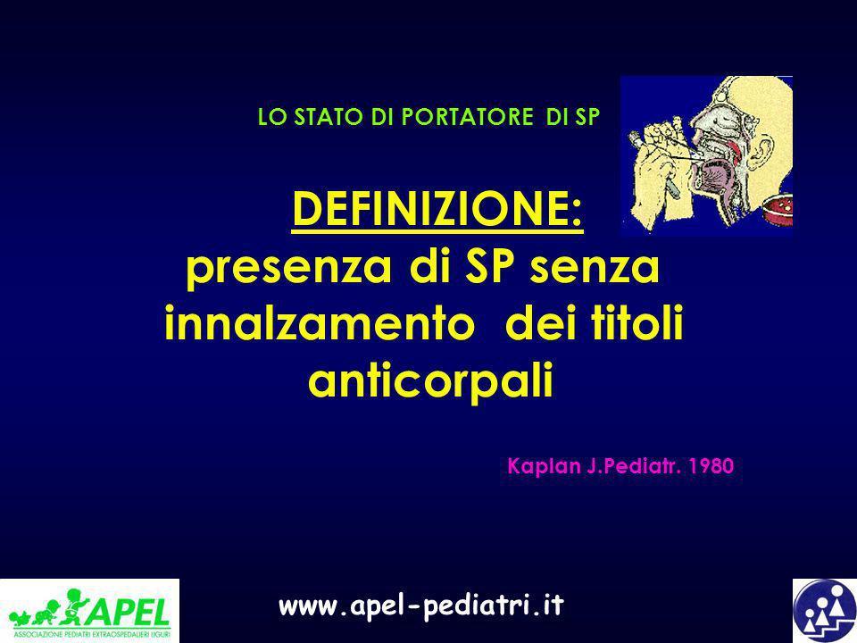 www.apel-pediatri.it DEFINIZIONE: presenza di SP senza innalzamento dei titoli anticorpali LO STATO DI PORTATORE DI SP Kaplan J.Pediatr. 1980